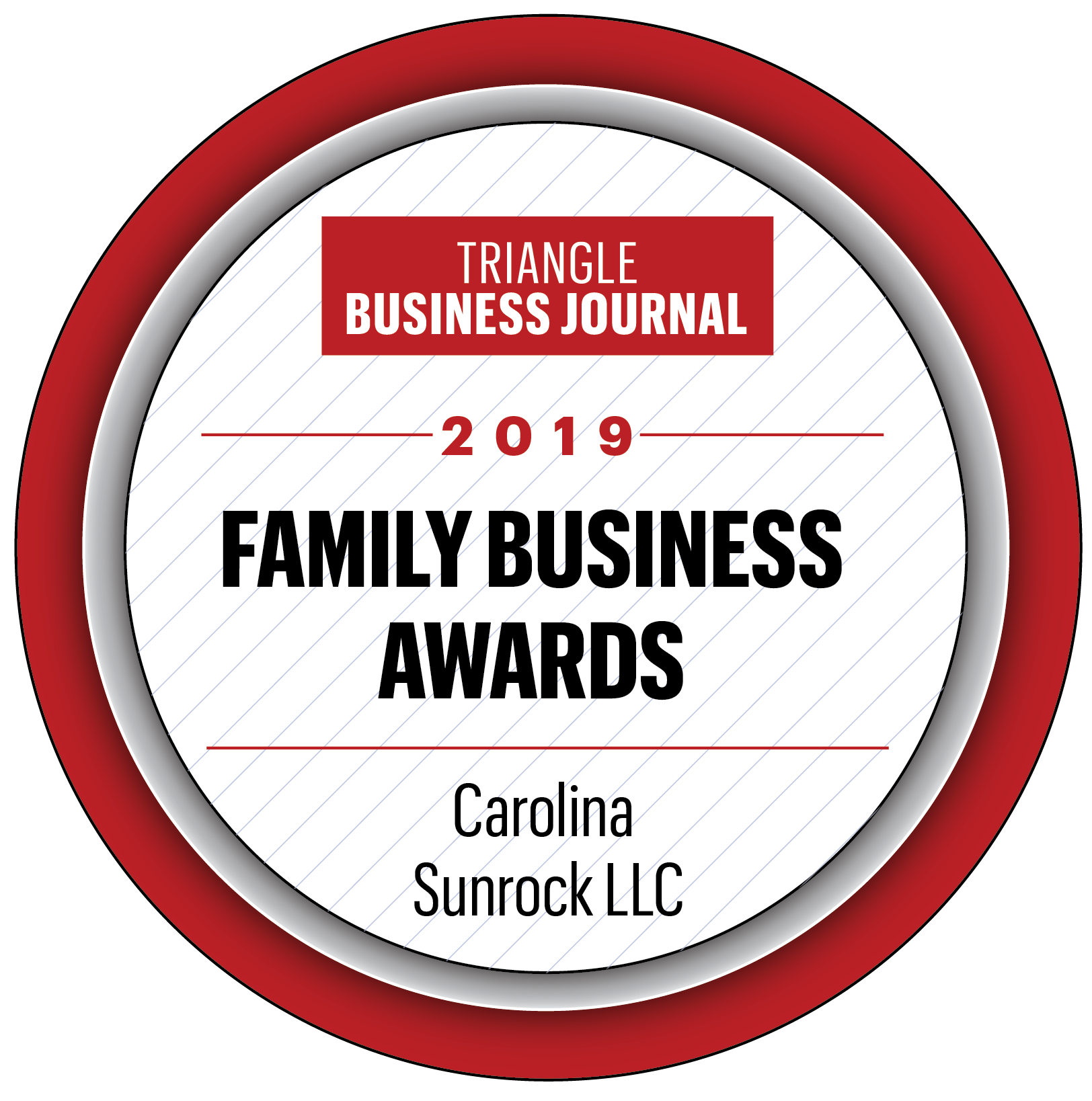Triangle Business Journal 2019 Family Business Award for Carolina Sunrock LLC